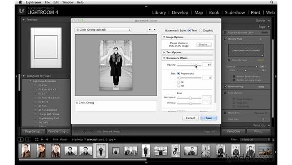Exploring page options for a single image: Lightroom 4 Essentials: 03 Creating Prints and Books