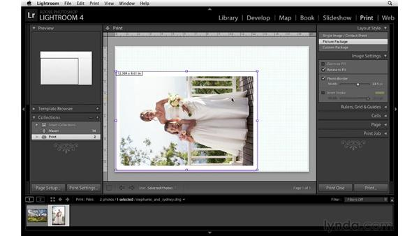 Using the Picture Package layout style: Lightroom 4 Essentials: 03 Creating Prints and Books