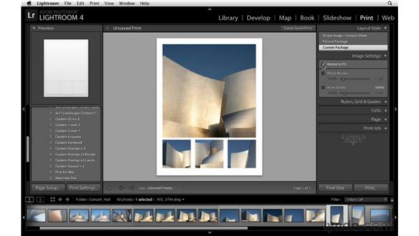 Using custom layout styles: Lightroom 4 Essentials: 03 Creating Prints and Books