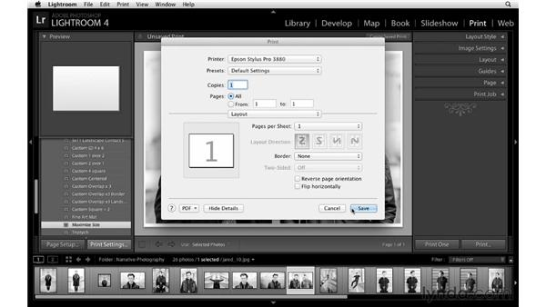 Configuring page setup and print settings: Lightroom 4 Essentials: 03 Creating Prints and Books