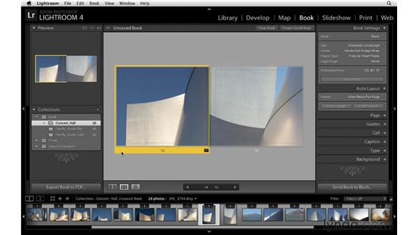 Exploring the Auto Layout option and tips for viewing pages and spreads: Lightroom 4 Essentials: 03 Creating Prints and Books