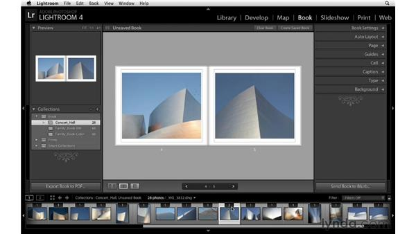 Modifying individual images and page sequence: Lightroom 4 Essentials: 03 Creating Prints and Books