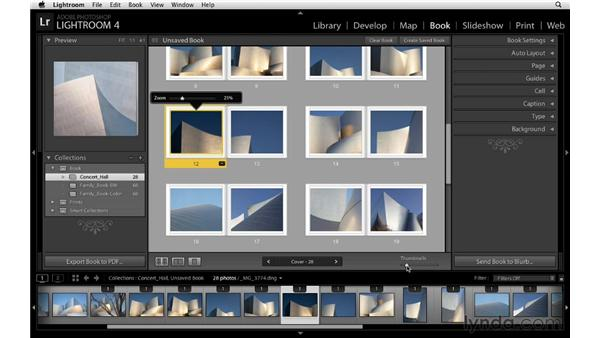 Changing the zoom rate for multiple images: Lightroom 4 Essentials: 03 Creating Prints and Books
