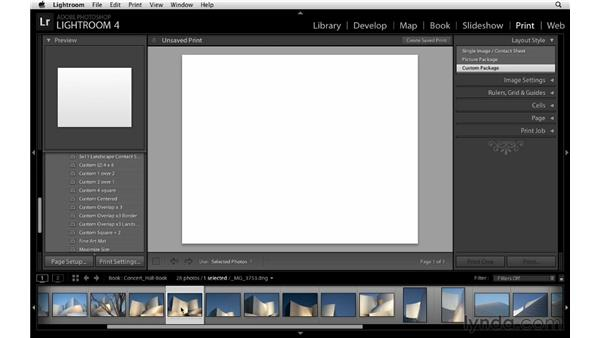 Using the Print module to design a layout: Lightroom 4 Essentials: 03 Creating Prints and Books
