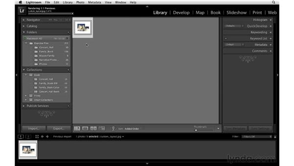 Including a custom layout in a project: Lightroom 4 Essentials: 03 Creating Prints and Books