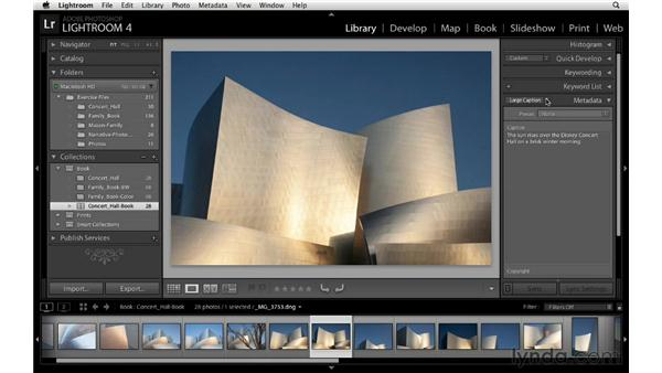 Adding captions: Lightroom 4 Essentials: 03 Creating Prints and Books