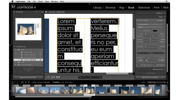 Customizing type, part 2: Lightroom 4 Essentials: 03 Creating Prints and Books