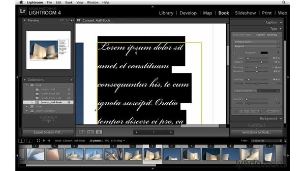 Creating and using type presets: Lightroom 4 Essentials: 03 Creating Prints and Books