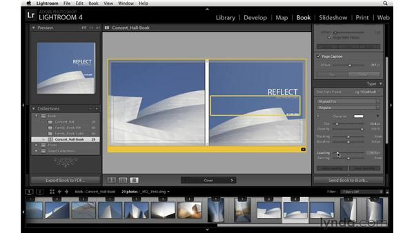 Adding a text field to a cover: Lightroom 4 Essentials: 03 Creating Prints and Books