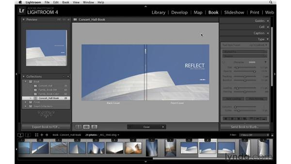 Selecting an alternate cover layout: Lightroom 4 Essentials: 03 Creating Prints and Books