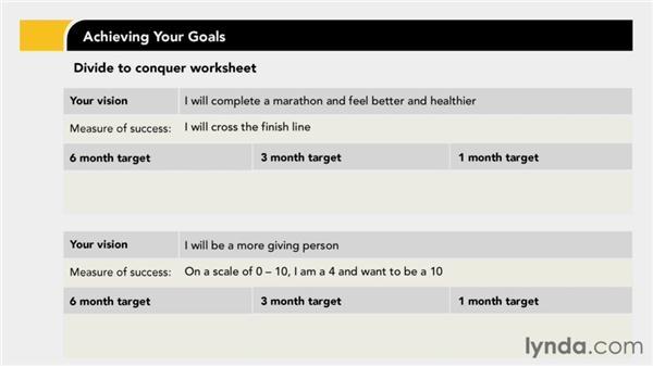Dividing to conquer: Achieving Your Goals