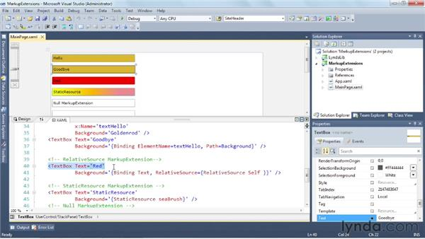 Assigning runtime data with XAML markup extensions: Silverlight 5 Essential Training