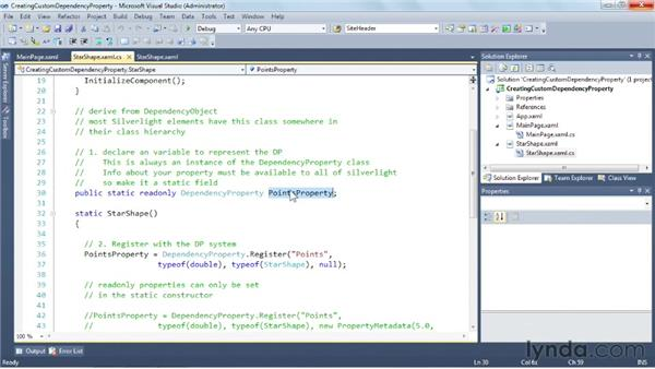 Creating a custom dependency property: Silverlight 5 Essential Training