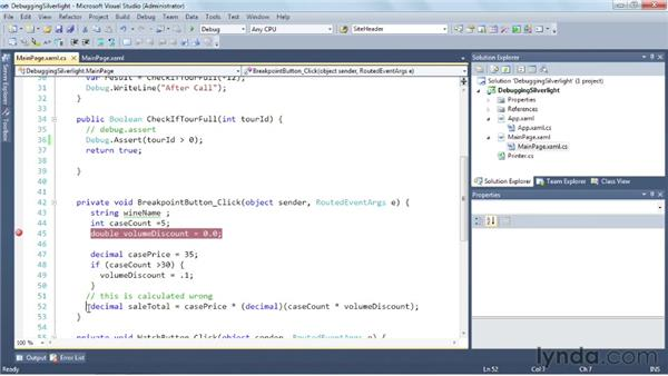 Debugging your code: Silverlight 5 Essential Training