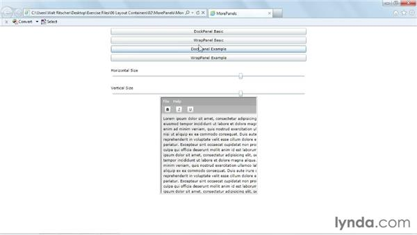 Using DockPanel and WrapPanel: Silverlight 5 Essential Training