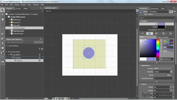 Absolute positioning with the Canvas panel: Silverlight 5 Essential Training