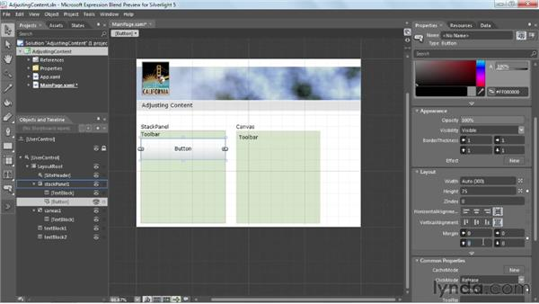 Adjusting content alignment, margins, and sizing: Silverlight 5 Essential Training