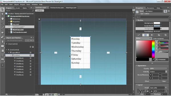 Manipulating elements with transforms: Silverlight 5 Essential Training