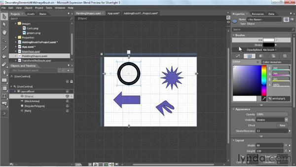 Decorating elements with ImageBrush: Silverlight 5 Essential Training