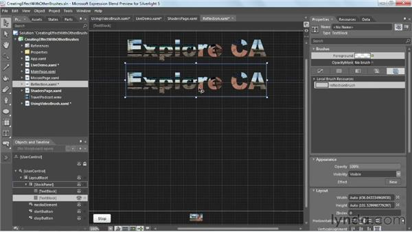 Creating effects with VideoBrush: Silverlight 5 Essential Training