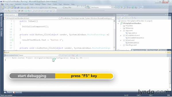 Wiring up event handlers in Silverlight: Silverlight 5 Essential Training