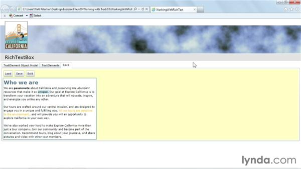 Showing complex text with RichTextBox: Silverlight 5 Essential Training