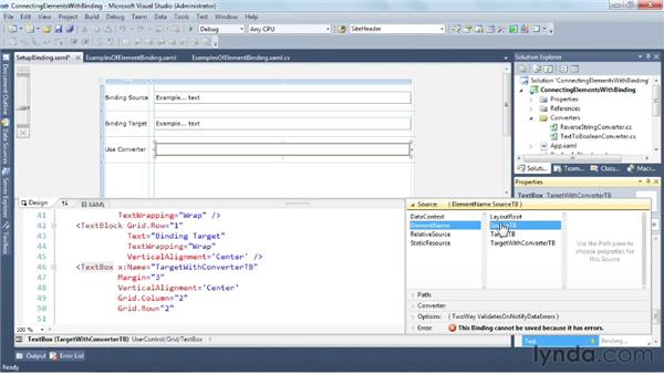 Connecting elements with binding: Silverlight 5 Essential Training