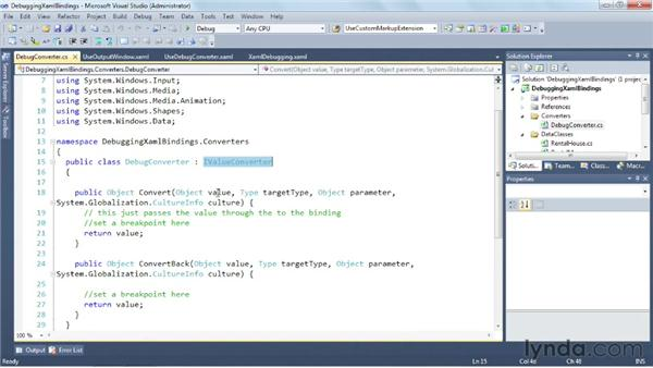 Debugging XAML bindings: Silverlight 5 Essential Training