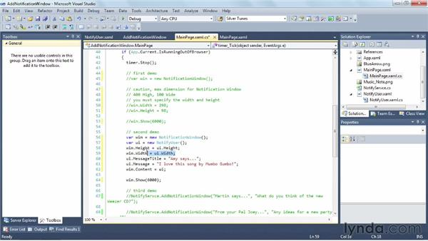 Alerting the user with notification windows: Silverlight 5 Essential Training