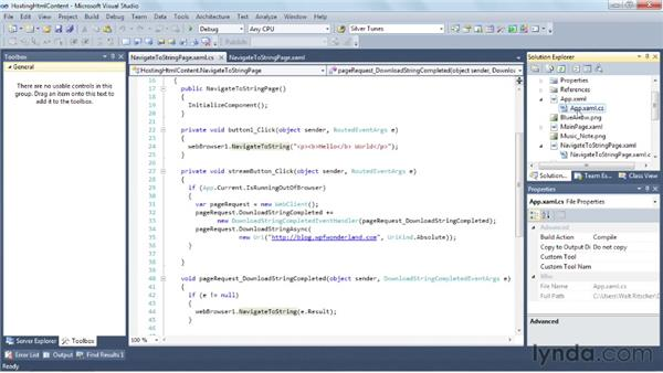 Hosting HTML content in Silverlight applications : Silverlight 5 Essential Training