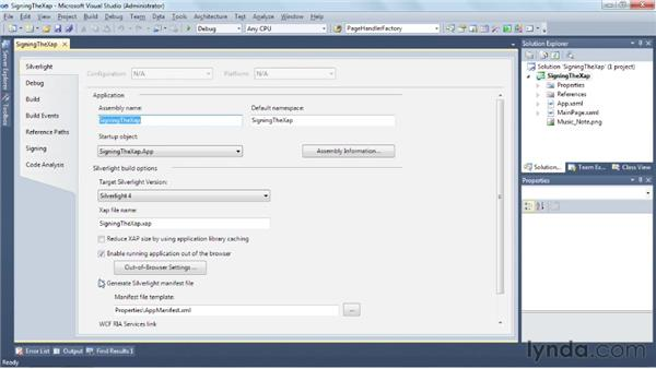 Reaping the benefits of XAP signing: Silverlight 5 Essential Training