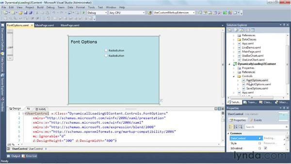 Dynamically loading UI content with user controls: Silverlight 5 Essential Training