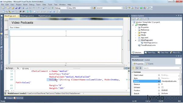 Viewing video content with MediaElement: Silverlight 5 Essential Training