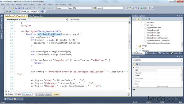 Handling global errors in a Silverlight application : Silverlight 5 Essential Training