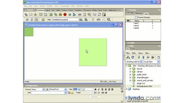 layer properties: Intermediate Dreamweaver MX