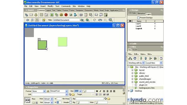 adding content to a layer: Intermediate Dreamweaver MX
