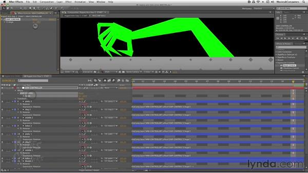 Using expressions to control the arm: After Effects: Rigging a Character Arm for Animation