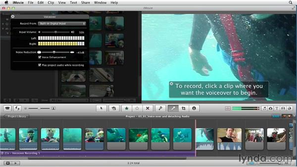 Working with the voiceover tool and detaching audio: Creating a Vacation Video with iMovie