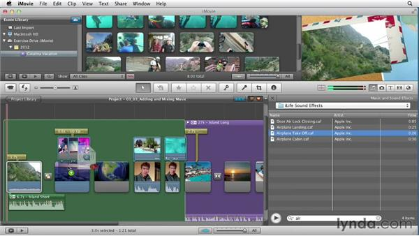 Adding and mixing music: Creating a Vacation Video with iMovie