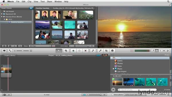 Adding photos and changing the timing of clips: Creating a Vacation Video with iMovie