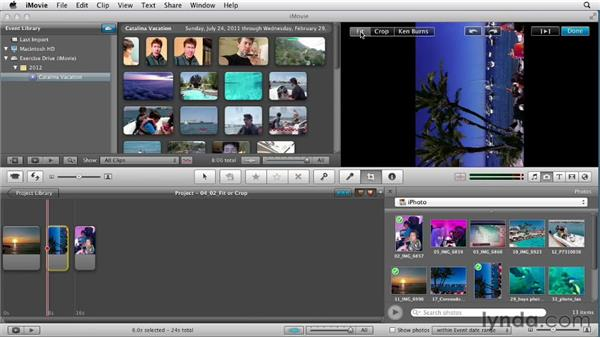 Cropping or fitting a photo: Creating a Vacation Video with iMovie