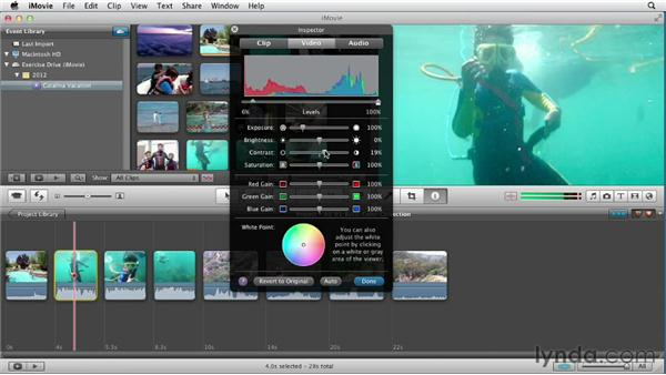 Exploring basic color correction: Creating a Vacation Video with iMovie