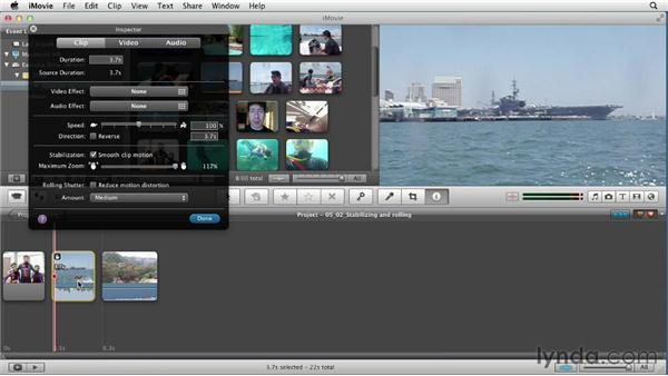 Dealing with problem footage: stabilizing shaky footage and correcting rolling shutter distortion: Creating a Vacation Video with iMovie