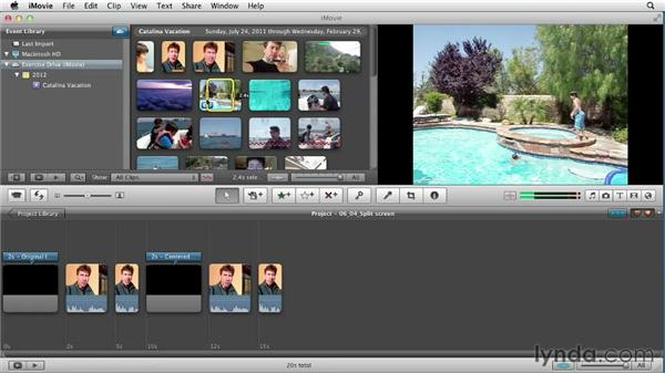 Creating a split screen: Creating a Vacation Video with iMovie