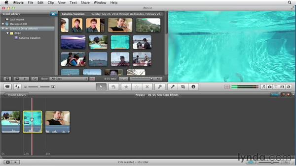 Using one-step video and audio effects: Creating a Vacation Video with iMovie