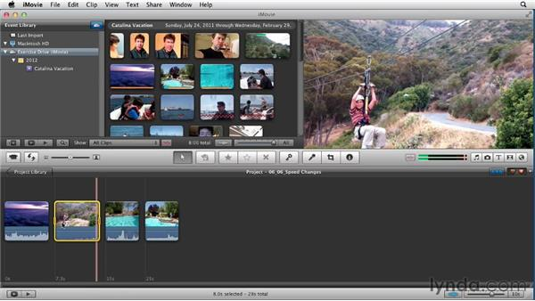 Changing speed and adding freeze frames: Creating a Vacation Video with iMovie