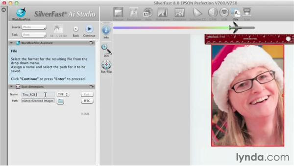 Adjusting, naming, formatting, and locating an image: Scanning with SilverFast
