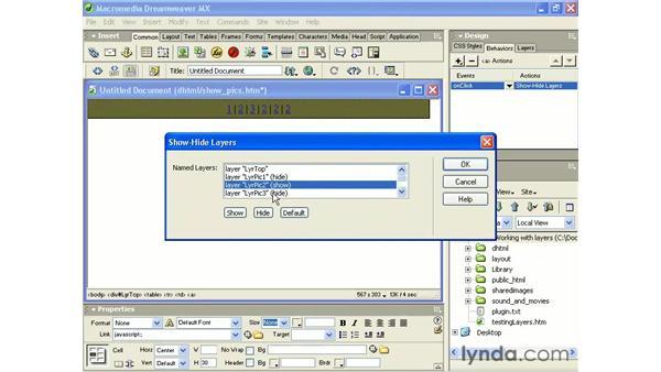 building a layer slideshow: Intermediate Dreamweaver MX