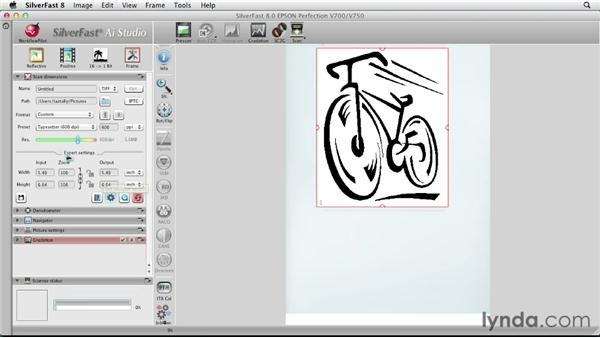 Scanning simple line art and changing it into vectors: Scanning with SilverFast