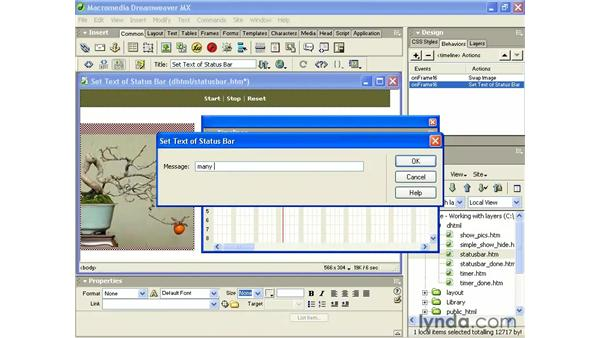 using set text of status bar: Intermediate Dreamweaver MX